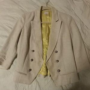 Linen blend lined blazer 3/4 sleeve